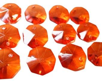 50 Orange 14mm Octagon Chandelier Crystal Beads 2 Holes