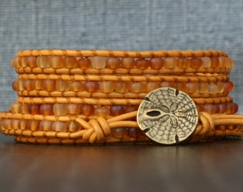 READY TO SHIP beach bracelet - amber seed beads on gold leather wrap bracelet - gold sand dollar button - boho jewelry - ochre mustard