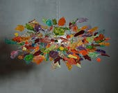 Customer order - colorful  with clear  leaves and flowers chandelier