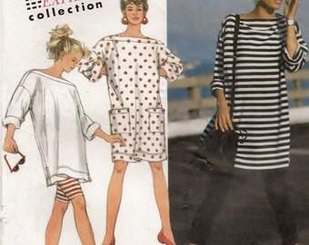 A Bateau Neckline, Oversize Dress / Tunic, and Capri Leggings & Bicycle Shorts Pattern for Women: Uncut - Sizes 6 thru 14 • Simplicity 7741