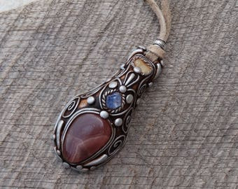 SHIPPING INCLUDED Opal Tanzanite and Rhodochrosite Pendant