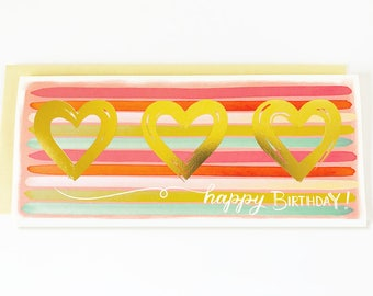Happy Birthday Stripes Gold Hearts