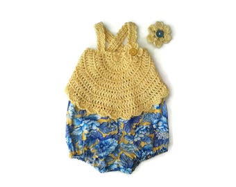 Baby girl cotton lace suntop tunic and bloomers, yellow blue baby dress, summer baby smock, baby shower gift present. Newborn 0-3-6 months