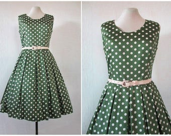 1950s Dress 50s Olive Green Cream Polka Dot Dress 1960s Pleated Dress 60s Drop Waist Dress Cotton Sateen with Belt M / L