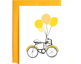Happy Birthday Card Balloons and Bicycle - Hand drawn illustration - Birthday Card