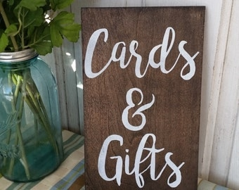 Cards & Gifts sign Wedding Sign - Dark Stained Wedding Sign - Rustic Wedding Decor 12x7 each