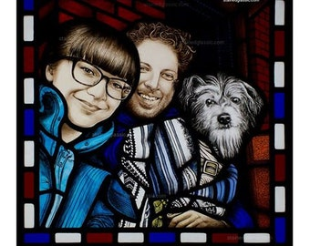 Get your hand painted family portraits - stained glass panel - See example, a panel recently produced