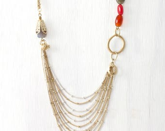 Long Necklace, Vintage Tassel Necklace, Long Tassel, Vintage Necklace, Layering Necklace Gold, Vintage Tassel,Multi Strand Chain LN22
