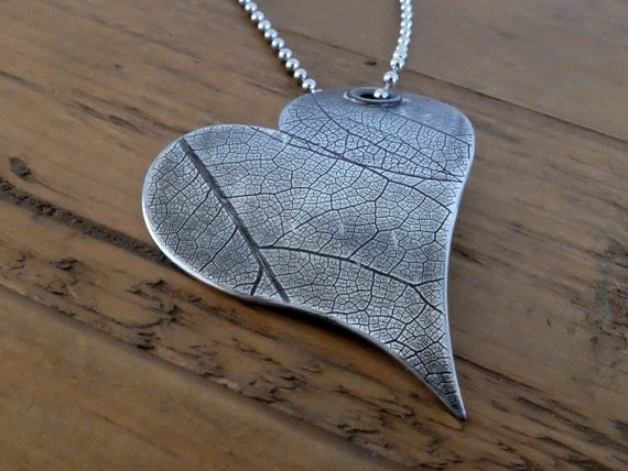 Long Heart Necklace, Long Heart Pendant, Leaf Necklace, Long Heart Leaf Necklace, Whimsical Heart Necklace, Heart on Long Ball Chain