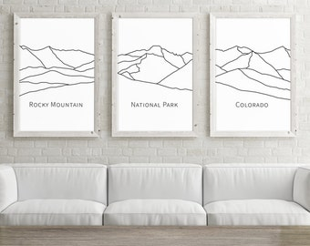 Set of 3 Prints, Rocky Mountain National Park Colorado Art Set of 3 Large Wall Art, Black and White Print Set of Prints, Minimalist Posters