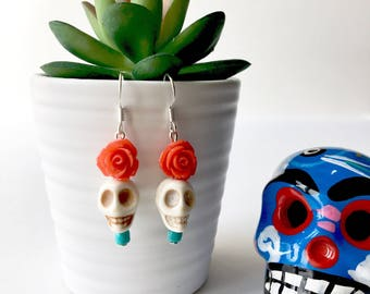 Skull Earrings, Mexican Earrings, Day of the Dead Earrings, Dia de los Muertos Earrings, Halloween Earrings, Sugar Skull Earrings, Macabre