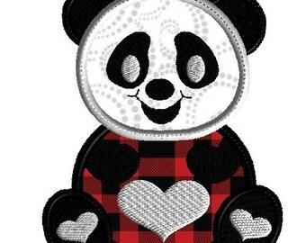 Panda applique, Machine embroidery design, 3 sizes, panda with hearts, bear design