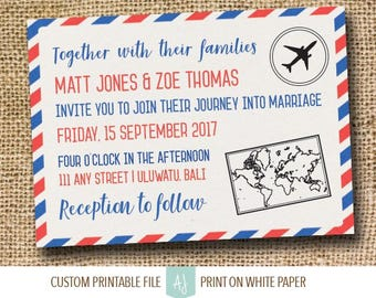 Travel Themed Wedding Invitation or Invite Suite- Air Mail Travel Invite for Destination Wedding- Customization Included