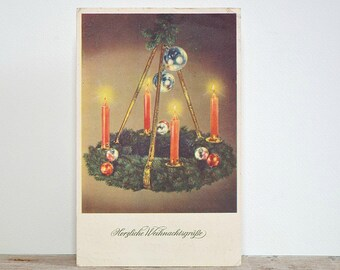 CHRISTMAS GREETINGS POSTCARD - advent wreath, Christmas red candles, silver baubles, vintage holiday post card, paper ephemera, season cards