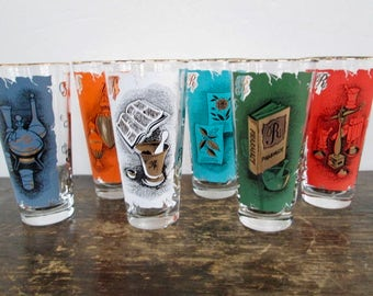 Set of 6 Libby Mid-Century Pharmacy Themed Drink Glasses