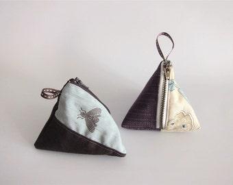 Japanese pouch, samosa pouch, pyramidal pouch, pyramid pouch, pyramid coin purse, triangle pouch, coin purse