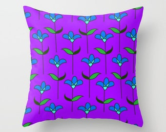 Purple Pillow, Flowers Pillow, Tulip Pillow, Flower pillow cover, flower throw pillow, Teen pillow, pillow shams, garden pillow, Genevieve