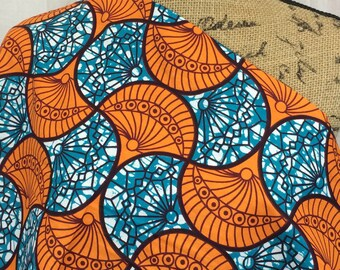 African Wax Print Fabric--Ankara African Print Fabric--Mitex Holland Wax Print Fabric--Teal and Orange Fans--African Fabric by the HALF YARD