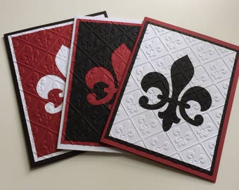 Embossed note cards, silver griffon designs, thank you cards, red and black,fleur de lis, handmade note cards, hostess gift, wedding