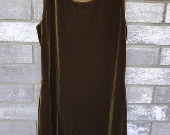 90s olive green crushed velvetdress