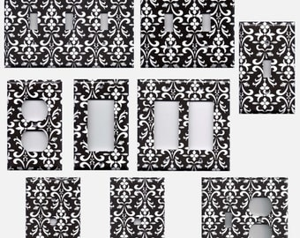 Light Switch Covers in Black & White Filigree Damask Light Switch Plates and Wall Outlet Covers Elegant Home Decor Accents
