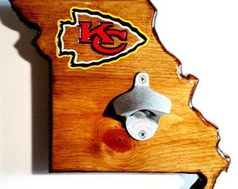 KC Chiefs Wall-Mounted Wooden Bottle Opener