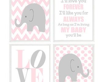 Elephant Nursery, Baby Girl Nursery, Elephant Wall Art, Pink Gray Nursery, Ill Love You Forever Quote, Chevron Elephant, Polka Dot, LOVE