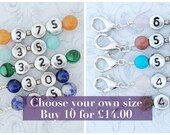 Choose your size: Never forget your hook size crochet stitch markers/progress keepers in mm. Silver plated clasp + semi precious beads.