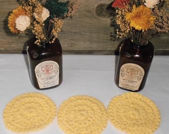 Facial Scrubbies, 100% Cotton, Set of Three Yellow Crochet Facial Scrubbies, Eco Friendly, Reusable