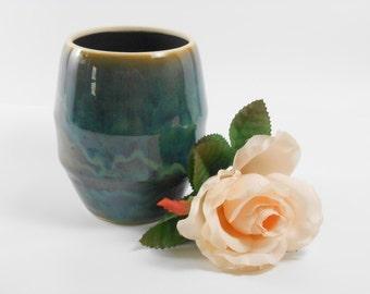 Flower vase - ceramic flower vase - turquoise vase - pottery flower vase - blue green vase - V143