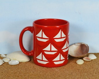 Waechtersbach Red Mug with 14 White Sailboats, Classic Red Ceramic D-handle Mug, Beach Nautical Decor, Gift for Sailor, West Germany
