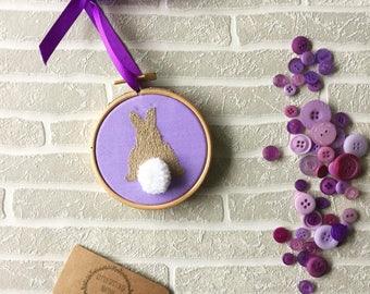 Easter Gift, Bunny Rabbit, Bunny Nursery Decor, Nursery Wall Decor, Easter Bunny, Bunny Tail, Embroidery Hoop, Easter Embroidery, Pom Pom