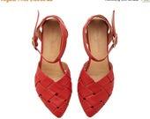 ON SALE Red Leather handmade flat Sandals / Sophie super comfertable sandals  by Tamar Shalem