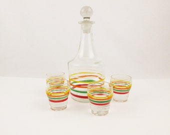 A Glass, Multi-striped Carafe With Stopper and Four Small Cordials - Glass With Rings of Color