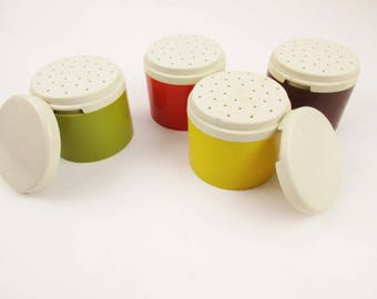 Oh Joy!  What Fun!  Tupperware Spice Containers - Avocado Green, Brown, Orange and Goldenrod  - Mixed Spices - Four Containers - Two Lids