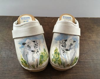 Leather wooden clogs EU27 White blue green clogs Kids clogs Girls painted clogs with cows Scandinavian clogs