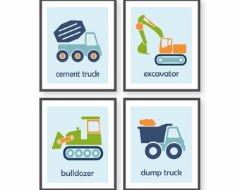 Construction Nursery Wall Art For Boys Room Decor, Excavator, Bulldozer, Cement Truck, Construction Theme, Playroom Decor, Toddler Art
