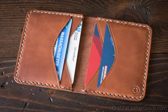 6 Pocket Horizontal compact wallet - chestnut harness leather