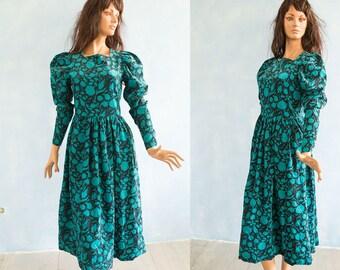 Vintage  Laura Ashley  black turquoise green flower  dress / 80s vintage  long puff sleeves floral print  autumn  midi dress/ UK 12