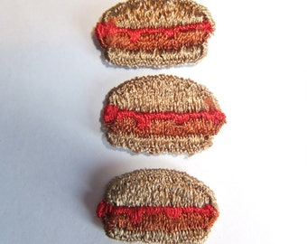 3 Vintage Hamburger Appliques Sew on Patches Cheeseburger Badges Fast Food