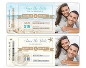Beach Theme Boarding Pass Save the Date Magnet