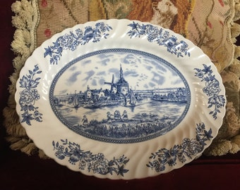 English Country Tulip Time Blue Johnson Brothers scallop oval platter