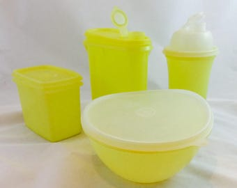 Lot of Vintage Yellow Tupperware / Tupperware Shaker/Tupperware Pitcher/ Tupperware Bowl