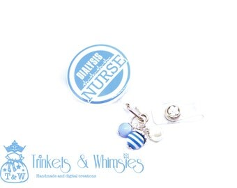 Dialysis Nurse Light Blue and White with Beads Retractable Badge Holder