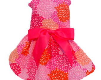 Dog Dress, Dog Clothing, Dog Wedding Dress, Pet Clothing, Pet Dress-Pink Fowers