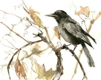 Crow and Grape, Fall, original watercolor  16 x 12 in, crow on tree wall art, brown black white minimalist art
