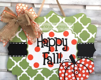 Fall Door Hanger Pumpkin Welcome Sign Happy Fall Y'all Wooden Door Hanger Fall Decoration Halloween Decoration Halloween door decor