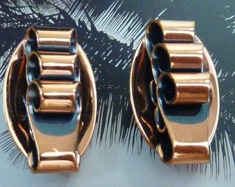 Signed RAME COPPER EARRINGS vintage copper clip on earrings