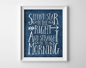 Peter Pan PRINTABLE Art - Second star to the right - Navy Blue - Baby Shower Gift - Nursery Decor - Art Print - Quote - Baby - SKU:352