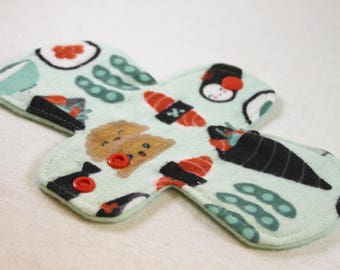 "Reusable Cloth Pad - 8"" Pantyliner - Happy Sushi Flannel"